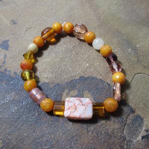Red line jasper & orange new jade bracelet
